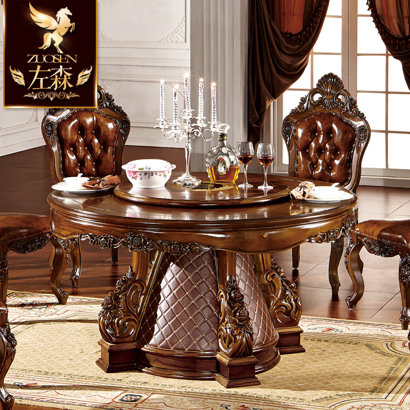 Sen left european and american style solid wood dining table continental gold silk teak dining table combination of solid wood dining table turntable