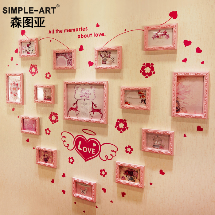 Sen tuya continental carved wood photo wall bedroom wall photo frame creative combination heart 14 box