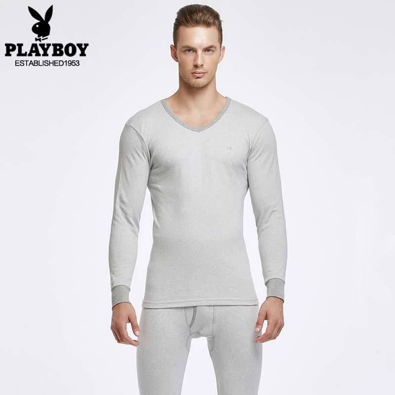 Send socks 3 pairs of playboy men's thermal underwear thin section cotton v-neck cotton sweaters bottoming autumn clothes suit