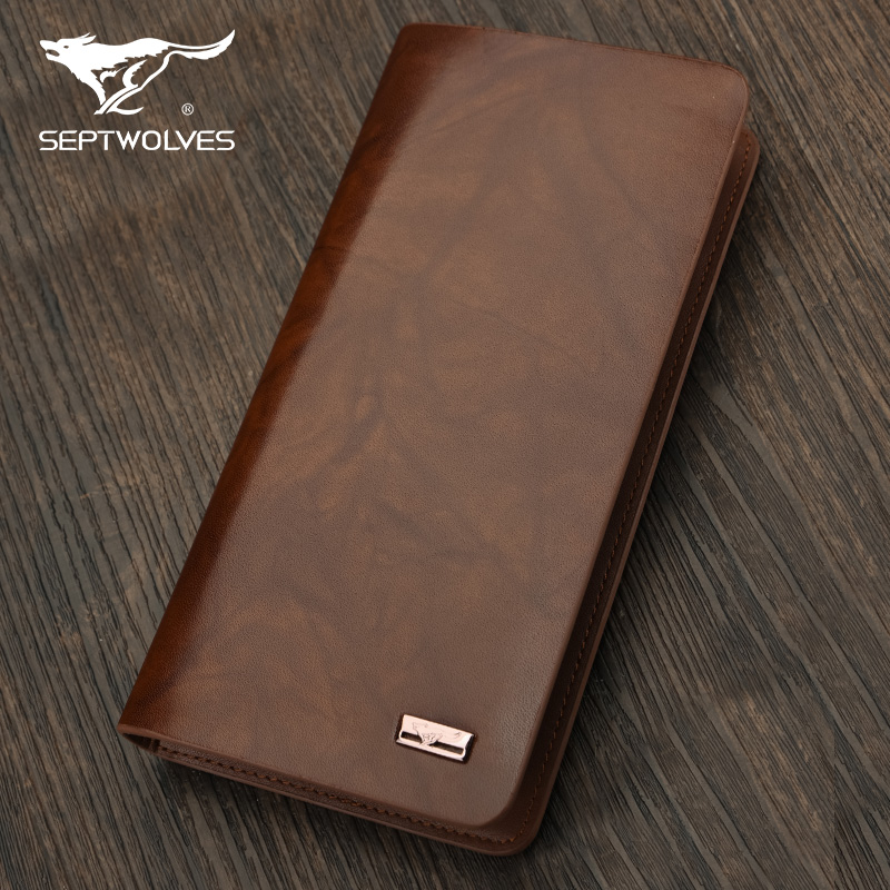 Septwolves/seven wolves seven wolves genuine business obscure long section of men's first layer of real leather wallet folder