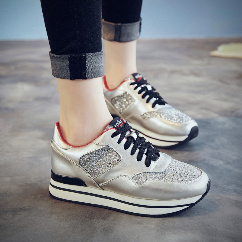Sequined leather shoes white shoes in the thick crust muffin with lace shoes sports shoes running shoes korean version of the single shoes women