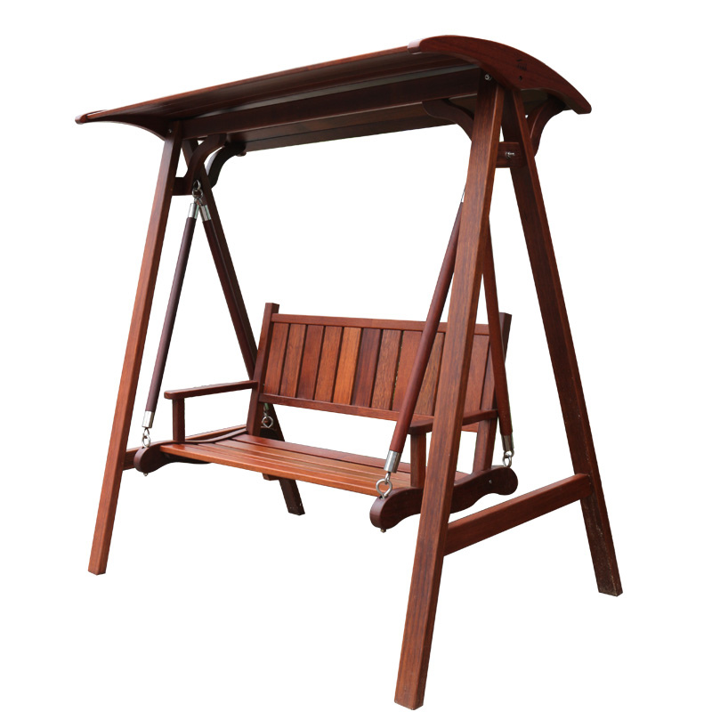 Service record contadino leisure wood indoor and outdoor rocking chair swing hanging baskets balcony garden wood double swing kwila