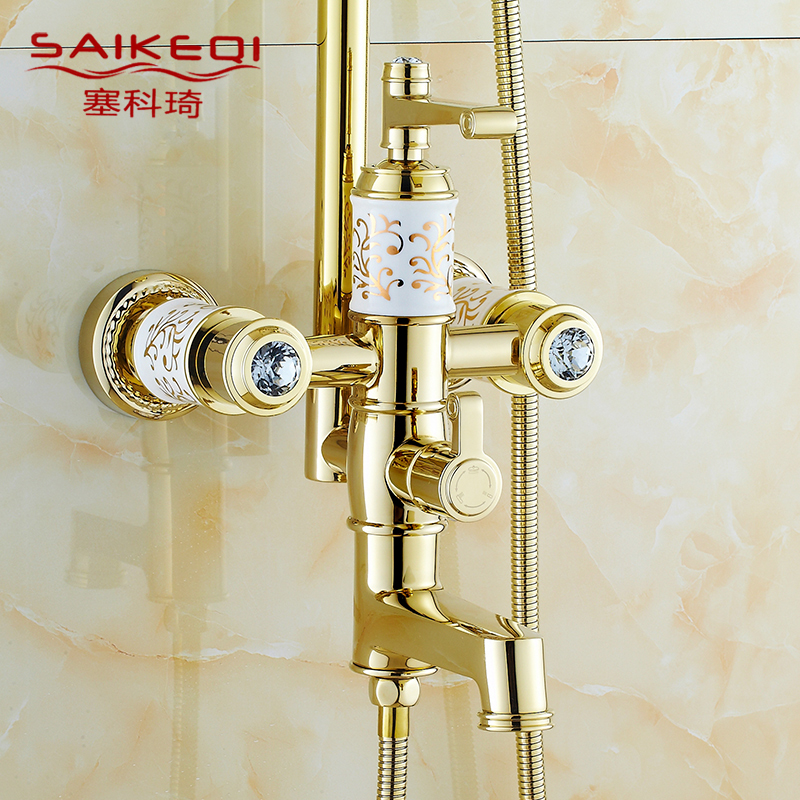 Sese seko qi archaized european golden shower lift shower suite bathroom full copper hot and cold shower