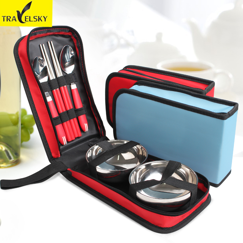 Set of stainless steel cutlery cutlery pack outdoor picnic supplies portable travel folding lunch boxes chopsticks spoon bowl