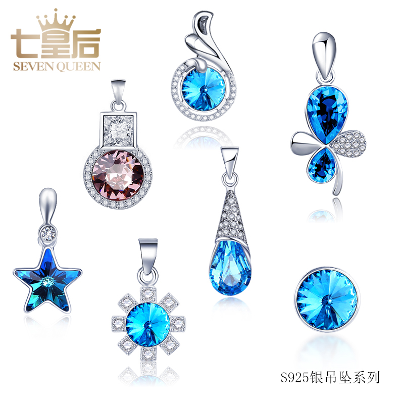 Seven queens with jewelry crystal necklace korea without chain s925 silver pendant child pendant necklace pendant male female models