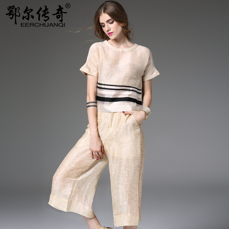 Seven silk linen wide leg pants suit female summer fashion in europe station 2016 summer new models temperament short coat