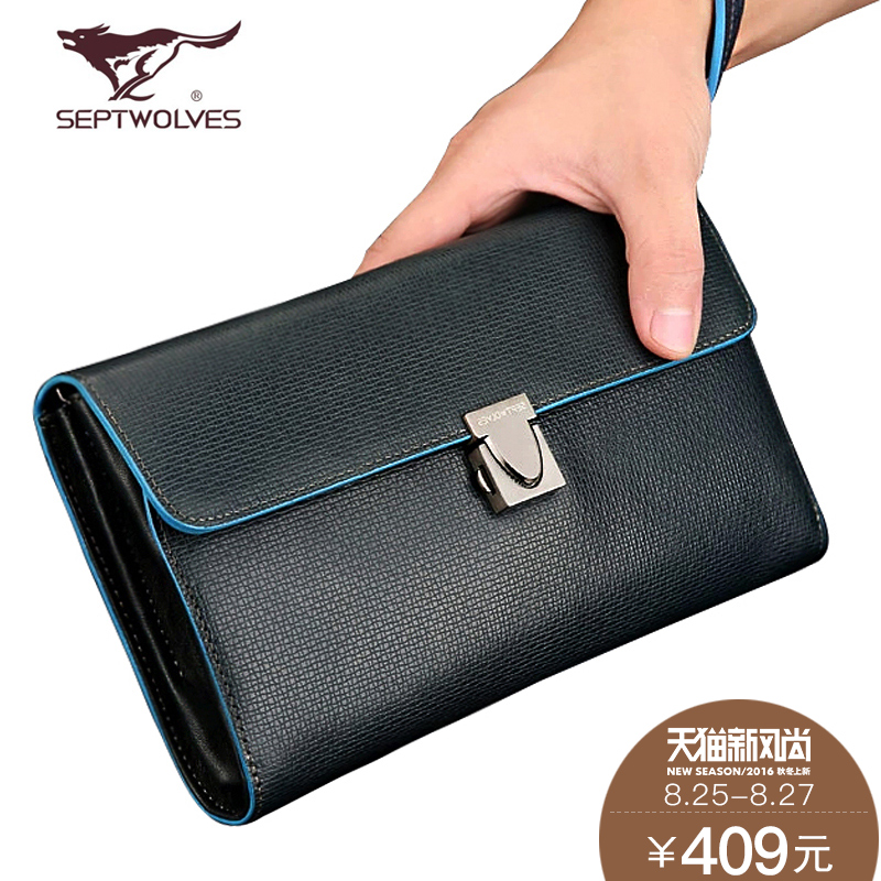 9097d5335095 Get Quotations · Seven wolves genuine leather man bag new leather clutch bag  wrist bag clutch bag men s business