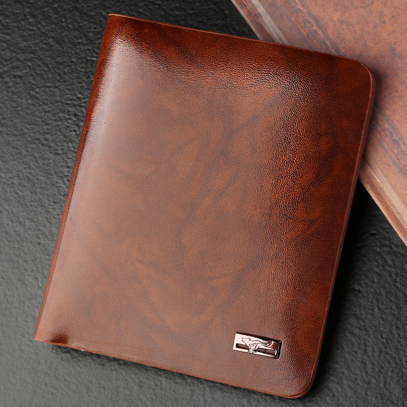 Seven wolves genuine leather men's wallet genuine leather wallet leather wallet short paragraph korean fashion cross