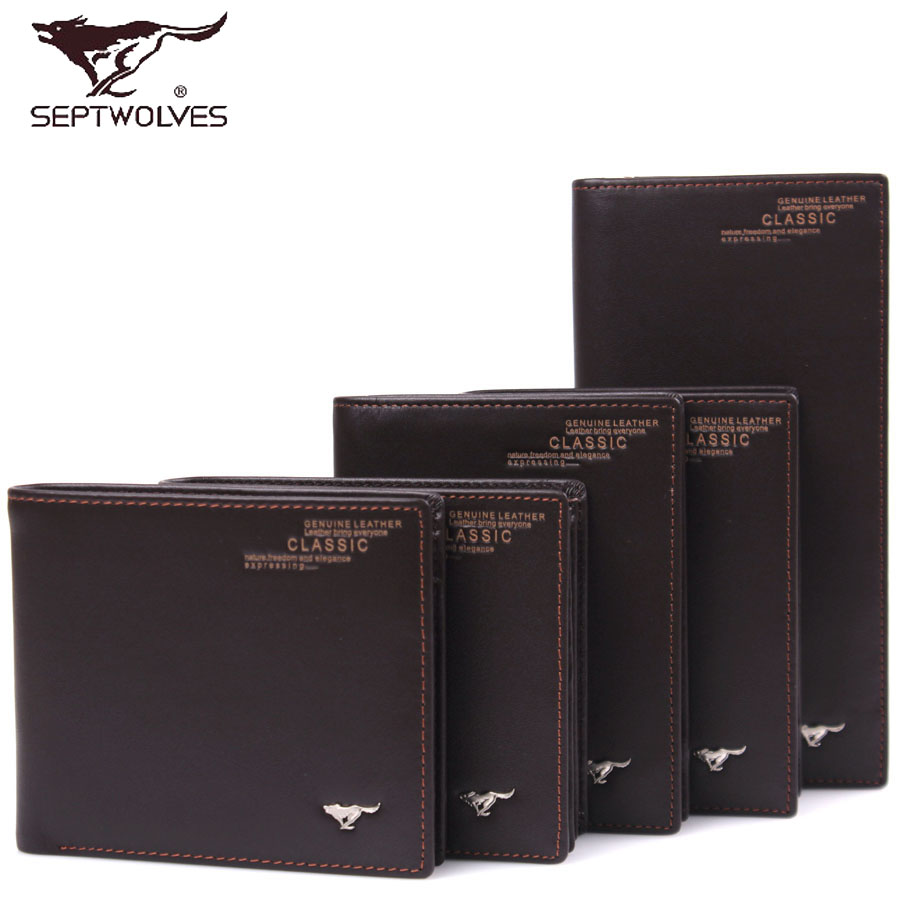 Seven wolves wallet [genuine free shipping] paragraph 2016 men's leather wallet wallet korean business wallet 3a1023