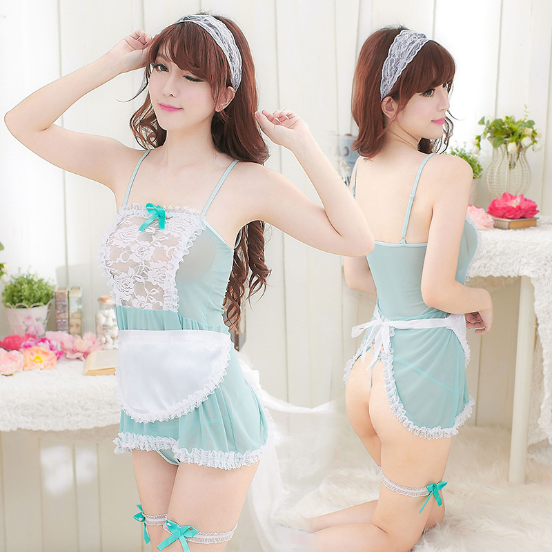 Sexy adult perspective sexy lingerie suit big yards bud silk dress fat mm maid cosplay maid uniforms temptation to show