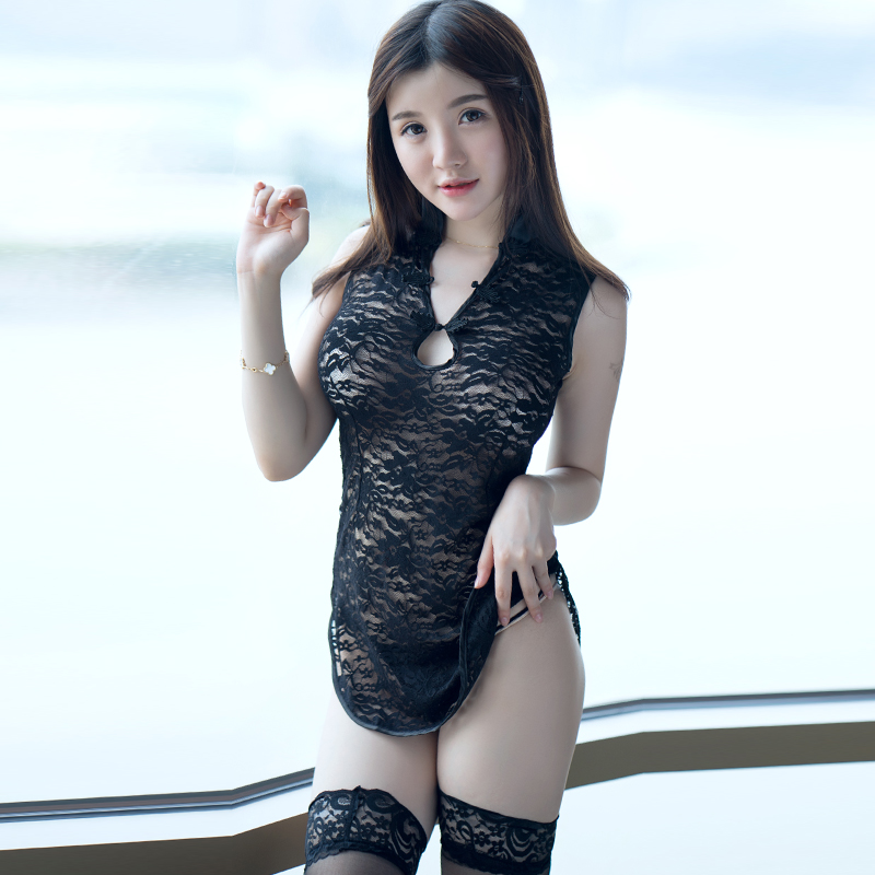 Sexy lingerie female transparent lace cheongsam dress big yards female suit uniform temptation sexy pajamas sao sm ss