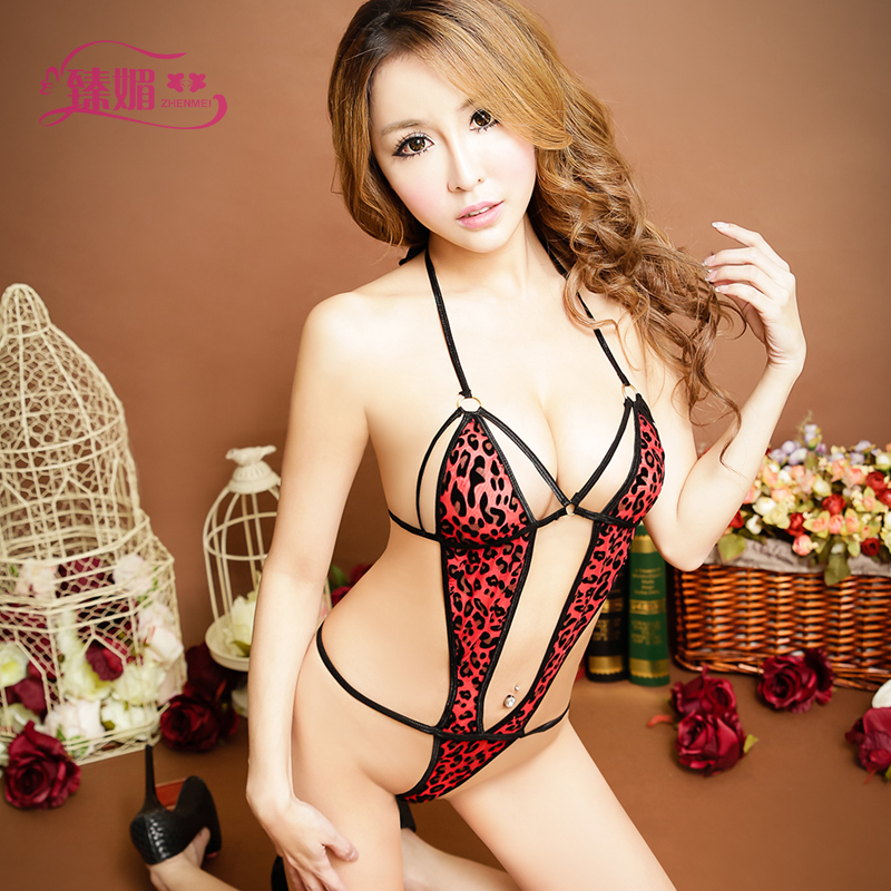 Sexy red leopard made of transparent contains adult chest a tight leotard adult clothes sexy lingerie female 9369