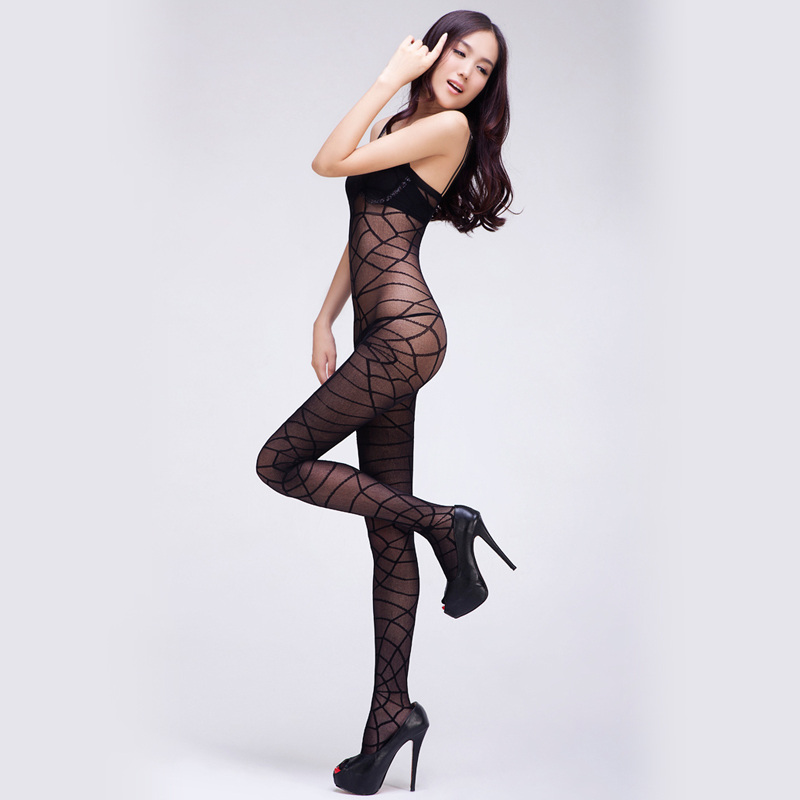 Sexy siamese netting hollow sense of black silk jumpsuit stockings uniform temptation adult lingerie chest a free open files off