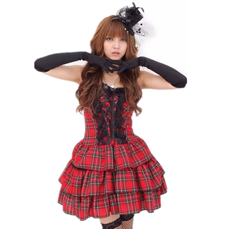 Sexy strapless plaid uniforms student dress princess dress bar night games ds lead dancer costumes stage singer