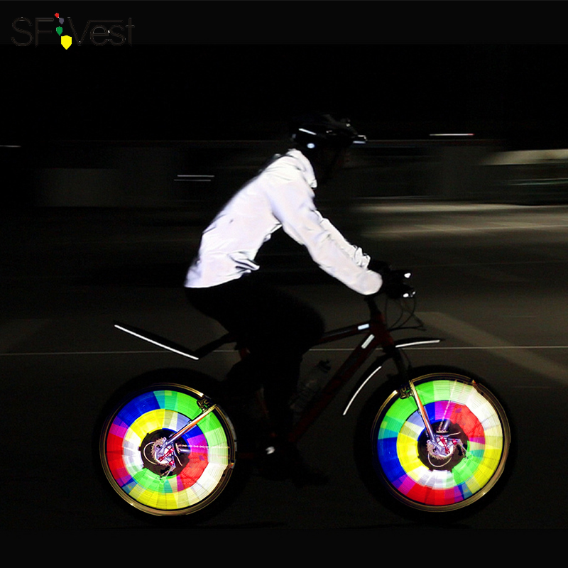 Sfvest colorful hot wheels bike lights mountain bike lights warning light bicycle equipment accessories willow spoke light