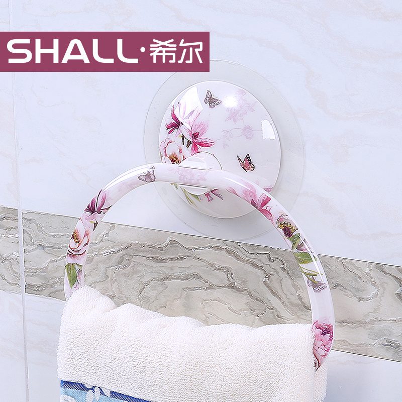Shall/hill seamless posted strong suction wall suction toilet bathroom towel ring towel rack towel rack continental