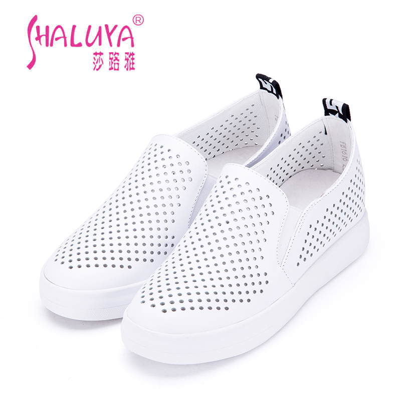 Shalu ya 2016 amoi bottomed leather shoes increased women's singles at the end of a pedal hollow flat white shoes lazy shoes