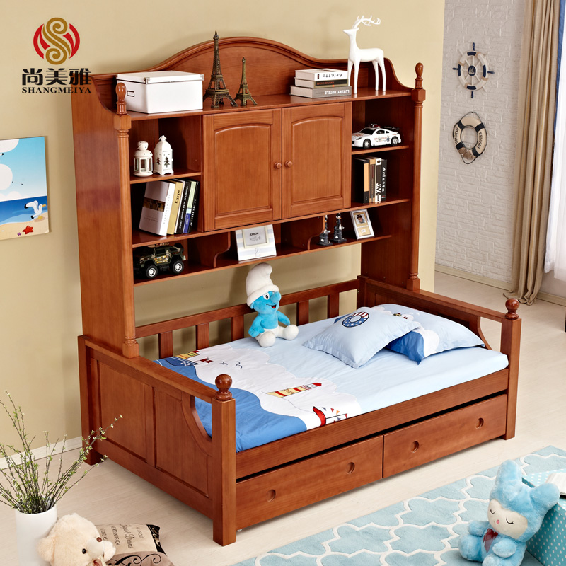 Shang meiya credenza wardrobe bed bed all solid wood crib versatile combination of american double storage bed children bed bunk bed