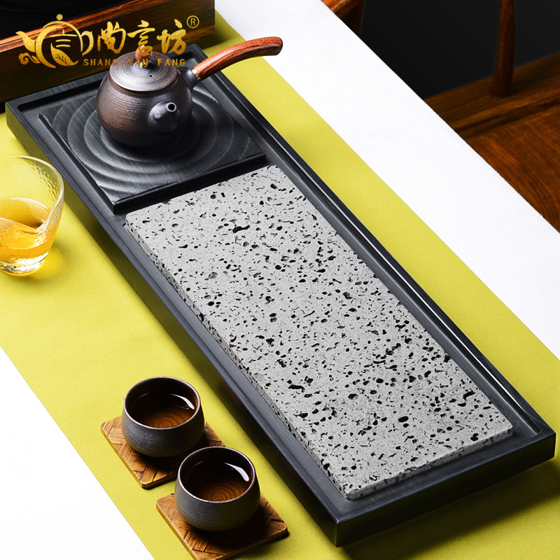 Shang yan fang green wood stone stone tea tray kung fu tea tray stone black stone tea tray tea sea