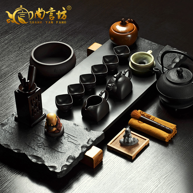 Shang yan fang ugyen stone sea stone tea sets tea entire kung fu tea set yixing tea tray kit