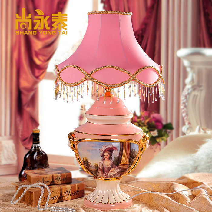 Shang yongtai european court of luxury villa club decorative ceramic table lamp lighting decoration wedding marriage room pink