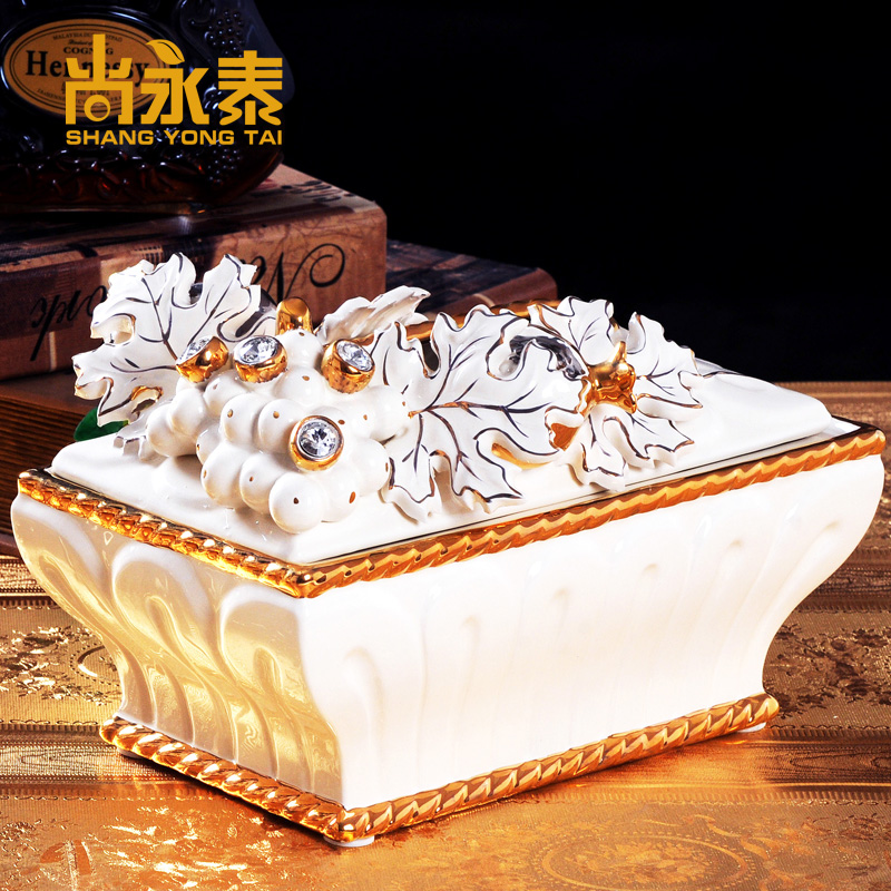 Shang yongtai upscale european ceramic tissue box ornaments european villa model room entrance living room coffee table ornaments