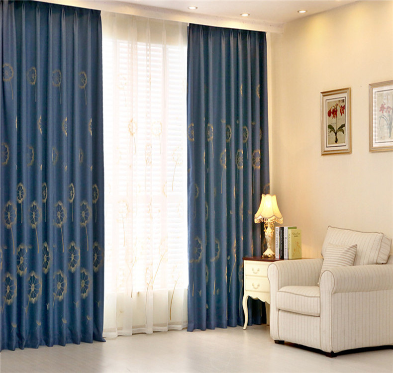 Get Quotations Shanghai Blue Cotton Embroidered Curtains Custom Thick Blackout Bedroom Living Room Floor To Ceiling