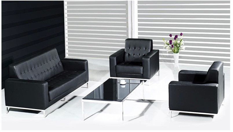 Shanghai office furniture leather office sofa modern minimalist stainless steel stay connected parlor sofa combination