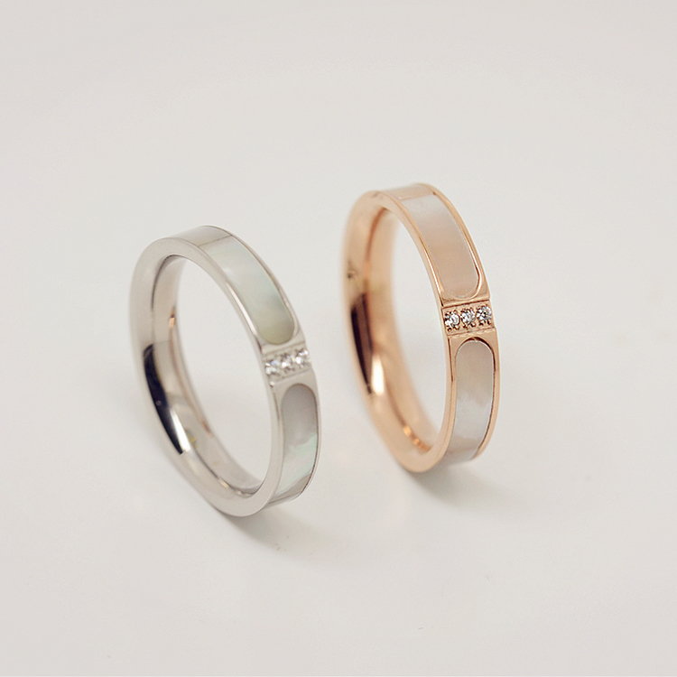 Shells korean fashion titanium steel rose gold plated ring tail ring finger ring female accessories japan and south korea south korea j055