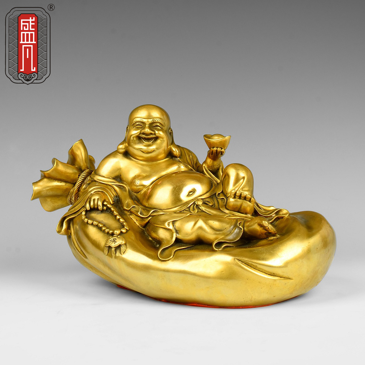 Sheng where copper gold bag laughing buddha maitreya buddha ornaments lucky feng shui living room den home decorations