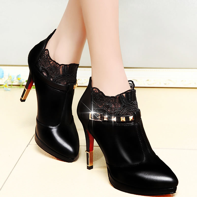 Shield fox 2016 spring and autumn new high heels shoes deep mouth waterproof shoes women fine with sexy lace shoes women shoes women shoes