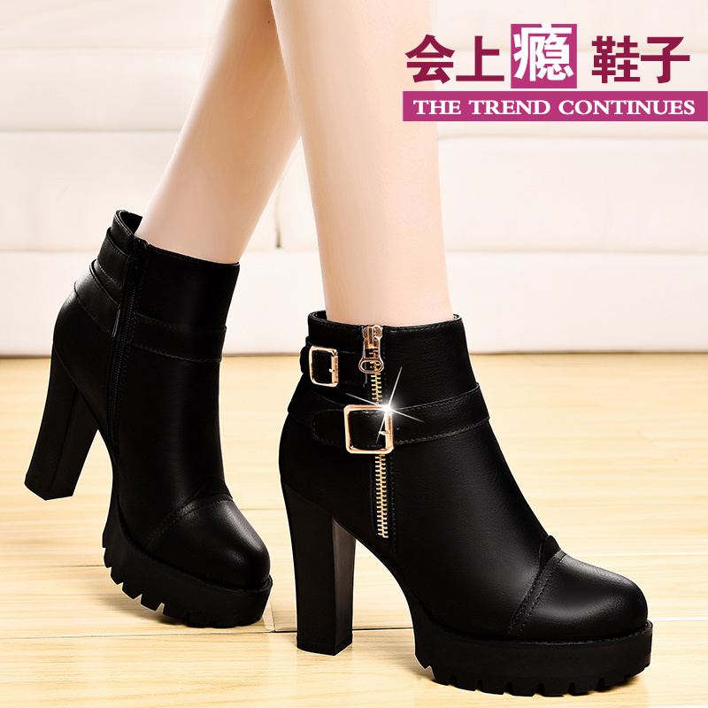 Shield fox in europe and america in spring and autumn shoes women high heels deep mouth shoes women shoes waterproof thick crust thick with leather shoes women ol work Shoes
