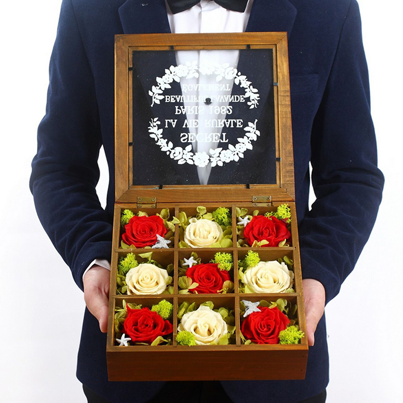 [Shipping] sf imported flower preservation gift of roses dried flowers to send his girlfriend a birthday gift glass y