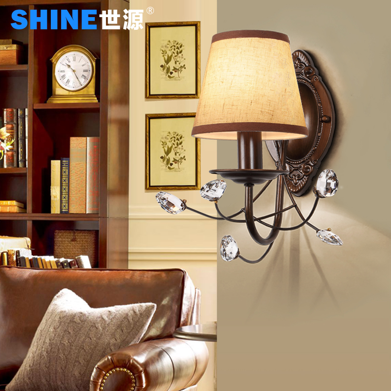 + Shiyuan american iron retro single head wall lamp wall tv backdrop wall lamp wall lamp bedroom wall lamp american rural village 3066