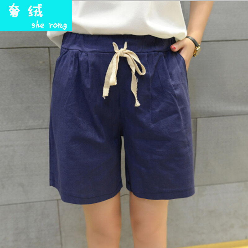 Shorts female summer 2016 new korean version of loose linen wide leg linen pants casual pants waist was thin female tide