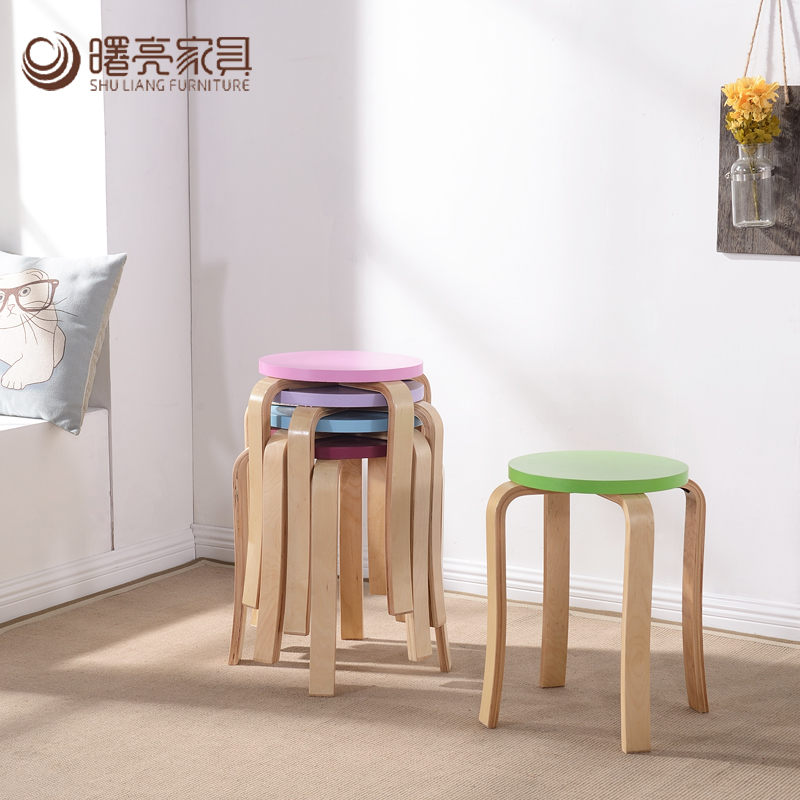 Shul-38-7030 bright solid wood color creative home meal stool stool stool stool stylish dining table stool stool stool wood stool bentwood stool low stool