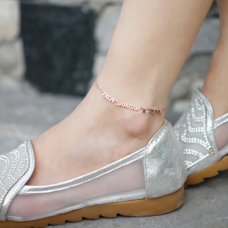 Shun humble same paragraph japan and south korea simple alphabetical wild temperament female jewelry rose gold titanium steel anklet unmounted