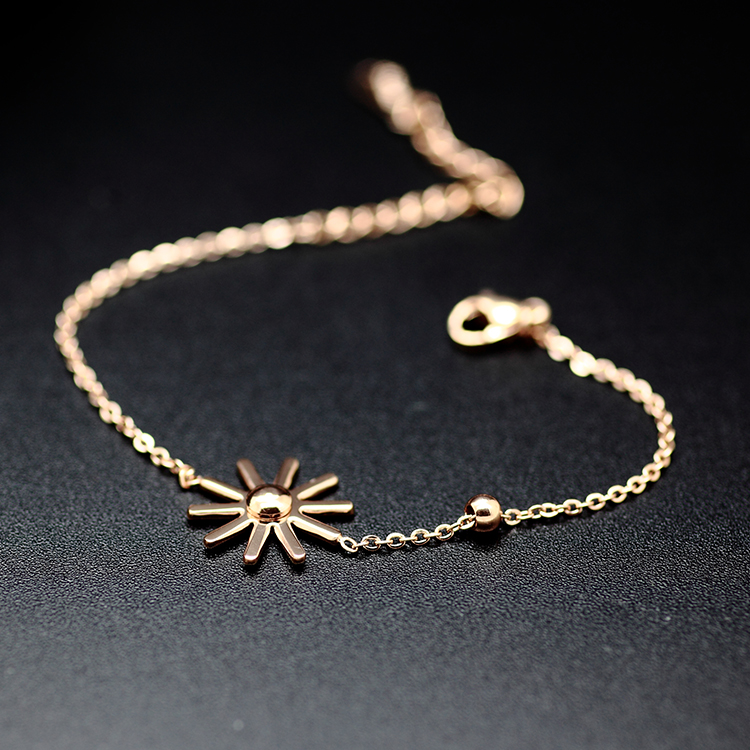 Shun humble south korea new simple wild female jewelry rose gold titanium steel bracelet personalized sunflowers ring unmounted