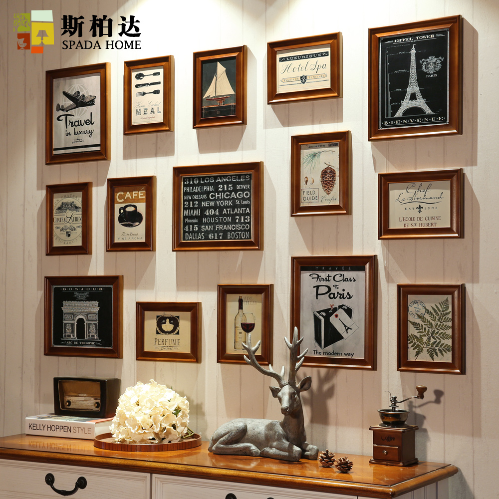 Si boda bedroom den american style retro wood frame photo wall photo frame combination photo wall combination
