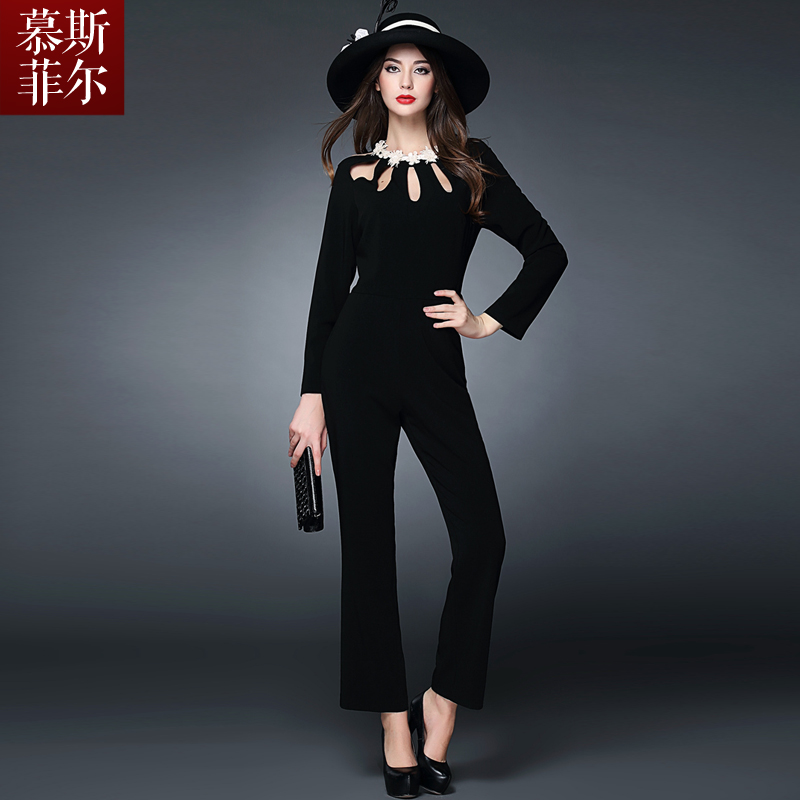 Siamese pants with big money in europe and america europe station 2015 spring and summer new women's three-dimensional flowers hollow black leotard