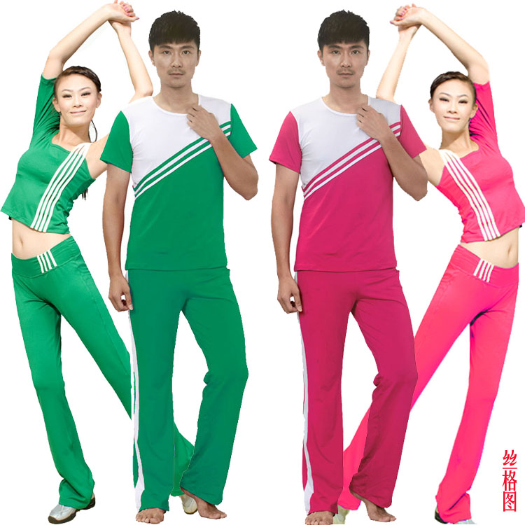 Sige figure men and women couple new suit aerobics workout clothes aerobics performance clothing group calisthenics clothing