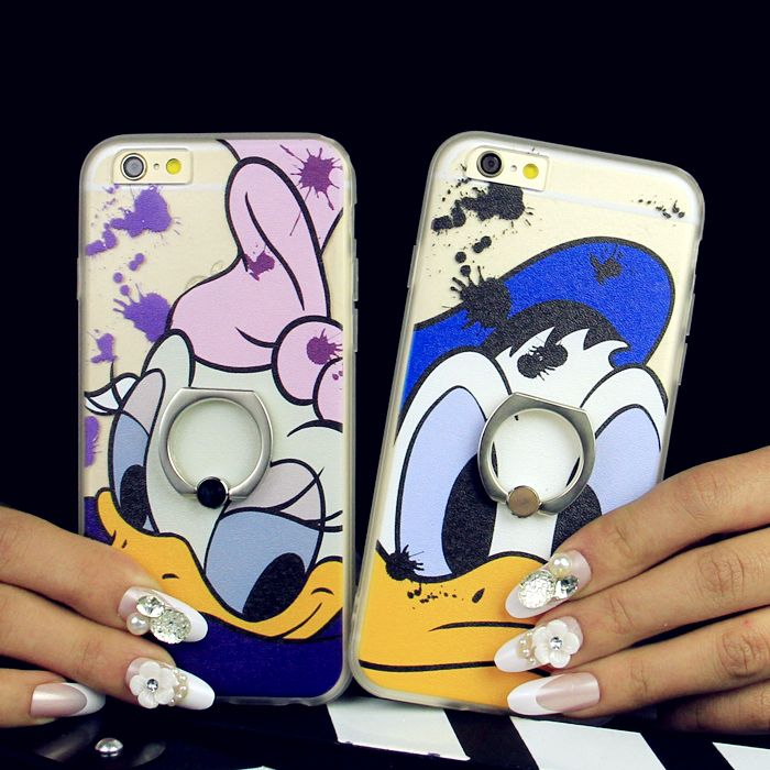 Silicone full edging plus apple phone shell mobile phone shell cartoon shell silk grain leather with a ring buckle 6 s plus daisy 5.5