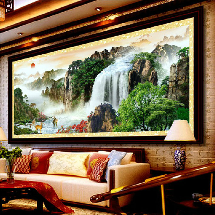 Silk printing stitch stitch rising sun landscape painting the living room landscape dramatically new living room painting series