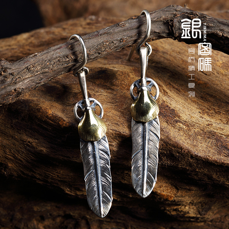 Silver password goros goro takahashi goro kimbe hair earrings 925 silver earrings brass 's handmade retro