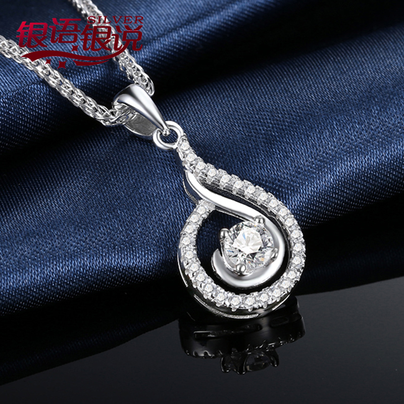 Silver silver said in japan and south korea minimalist silver jewelry silver necklace female 925 silver zircon pendant items pendant clavicle chain accessories