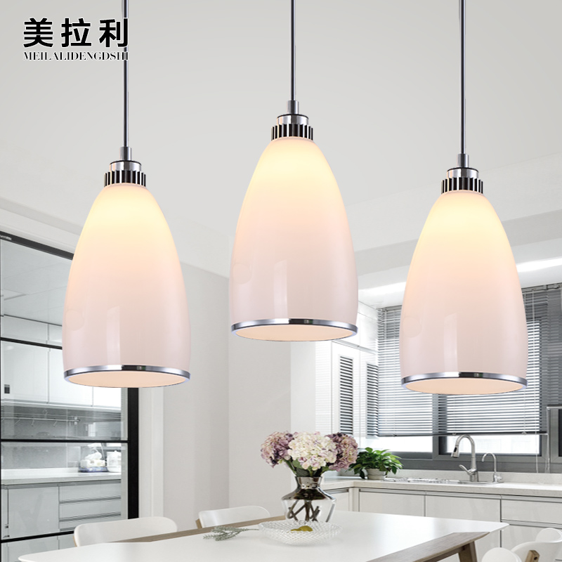 Simple crystal three pendant lights led creative personality staircase chandelier bar restaurant