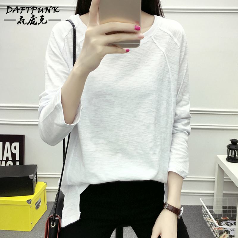 Simple solid color long sleeve t-shirt female autumn thin section of bamboo cotton short in front long raglan sleeves loose round neck sweater