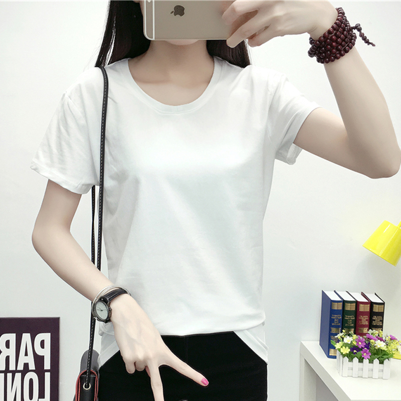 Simple wild slim round neck shirt star with money hit the end of pure cotton short sleeve t-shirt solid color shirt white female summer