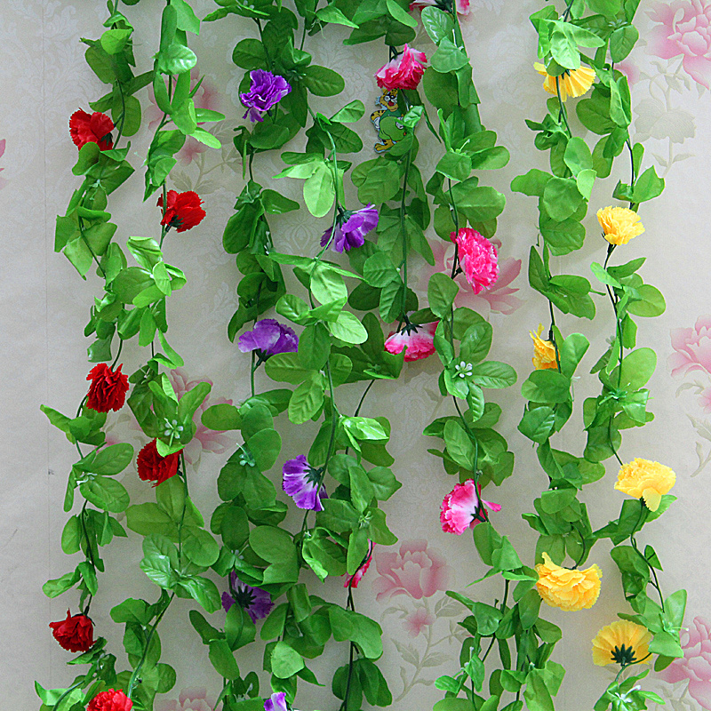 Simulation carnation flower vine rattan vines leafy roof decorative plastic artificial flowers silk flower bouquet of dried flowers floral wall