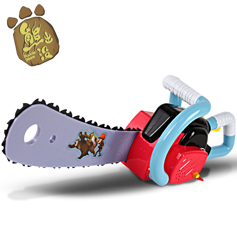Simulation chainsaw chainsaw bear spotted bald strong voice children's toys electric toys with sound and light will speak